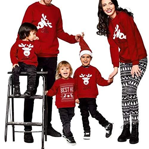Ansenesna Weihnachten Familien Outfit Mutter Vater Kind Rot -