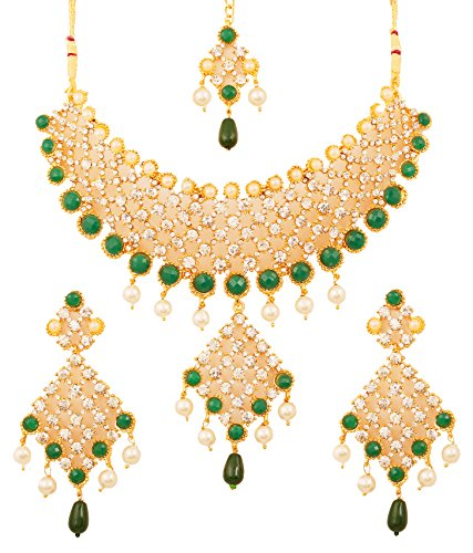 Touchstone Green Faux Emeralds/Pearls Gold Plated Necklace Set For Women