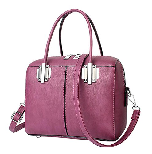 WanYang Donna Borsa Handbag A Spalla Righe In PU Cuoio Borse A Mano Per Donna PU Pelle Viola