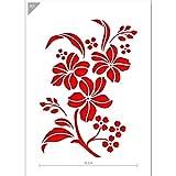Stencil di fiori - cartone o plastica - A5 14,8 x 21 cm - Larghezza del fiore 12 cm - pittura, artigianato, muro, stencil mobili - riutilizzabili per bambini (Plastica)