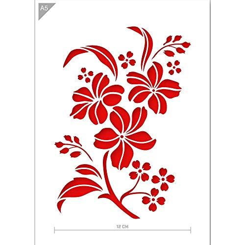 QBIX Blume Schablone - Blumen Schablone - Blume & Blätter Schablone - A5 Größe - Wiederverwendbare Kinder freundlich DIY Schablone zum Malen, Backen, Basteln, Wand, Möbel -
