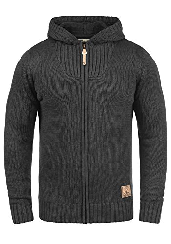 Gerippte Strickjacke Mit Kapuze (!Solid Penda Herren Strickjacke Cardigan Grobstrick Winter Pullover mit Kapuze, Größe:L, Farbe:Dark Grey Melange (8288))