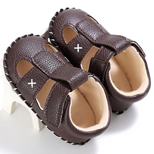 Saingace Baby Säuglingskind-Mädchenjungen-weiche alleinige Krippe-Kleinkind-Neugeborene Sandelholz-Schuhe Braun