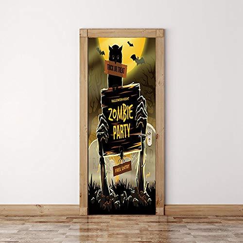 (XIAOXINYUAN 3D Tür Aufkleber Halloween Grabstein Wallpaper Abnehmbare DIY Selbstklebende Wandbilder Für Wand Aufkleber Home Decor)