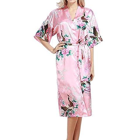 TIAQUE Ladies Silk Satin Kimono Robe Floral Peacock Long Gown