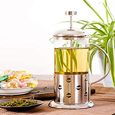 350 ml / 3-Cup Stainless Steel Glass Cafetière French Filter Coffee Press Plunger & Tea Maker by GEEZY