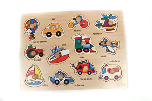 Puzzle - Wooden Hand Grasping Puzzle Board Matching Cognitive Board - Early Educational Toys for Toddlers Kindergarten Learning by KARP (Vehicle)