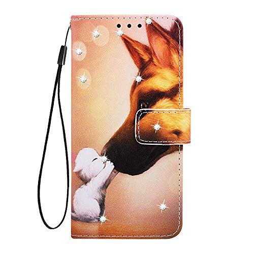 Fatcatparadise für LG Stylo 4 Hülle + Displayschutz,[Diamant-Serie] PU Leder Tasche Gemalt Muster Flipcase Cover Brieftasche Handyhülle Schutzhülle Handytasche (Katzen Hunde) -