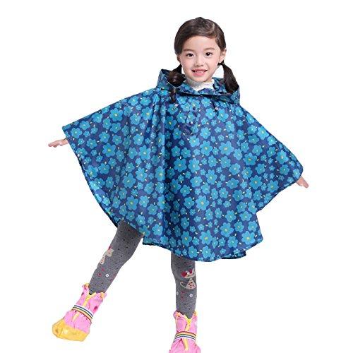Gagacity Regenponcho Baby Kapuzenmantel Niedliches Drucken Wasserdicht Regenjacke für Jungen und Mädchen Blaue Blume/XL -