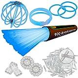 100 Arm Knicklichter Blau Set mit 204 Teile | inklusive TopFlex Armverbinder | dreifach Steckverbinder | Ball & Kreisverbinder | Profiqualität | Testnote: 1,4 ' Sehr Gut'
