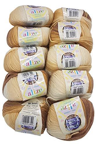 10 x 50g Strickwolle Alize Baby Wool mit 20% Bambus und 40% Wolle, 500 Gramm Strickwolle mit Farbverlauf Mehrfarbig (Braun- Beige (3050))