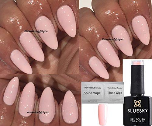 Bluesky 80611 Winter Glow Light Pink Contradictions Vernis gel, séchage lampe UV, LED, 1 lingettes Homebeautyforyou Shine Wipe, 10 ml