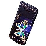 Herbests Kompatibel mit Samsung Galaxy Note 10 Plus Lederhülle Luxus Handyhülle Bunt Muster Ledertasche Bookstyle Klapphülle Wallet Flip Case Cover Schutzhülle Magnetverschluss,Schmetterling