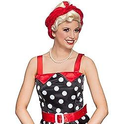 NET TOYS Rubia corta estilo años 50 con pañuelo rockabilly rojo, para mujer