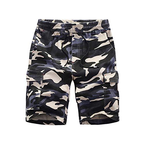 ort Strandhose Sommer Plus Size Lose Tarndruck Patchwork Sport Strand Shorts Hosen Mode Sporthosen Badehose ()
