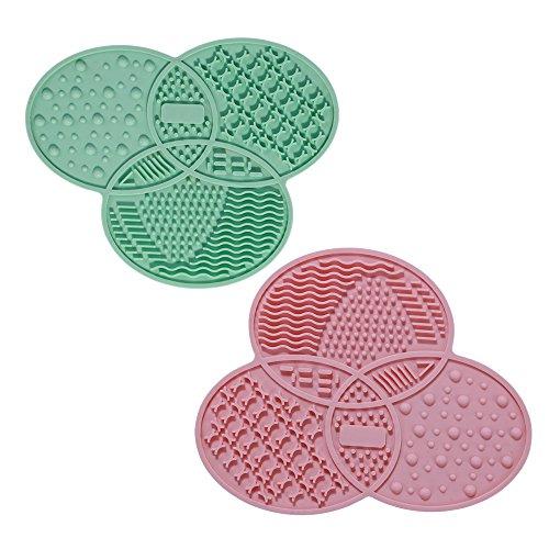 Coque en silicone Brosse Cleaner 2 pcs Pinceaux Maquillage Tampon de nettoyage Tapis en caoutchouc 14.3 cm * 11.6 cm