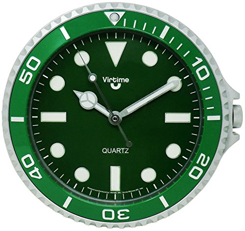 Cucuba® HILARANTE RELOJ DE PARED PARA INTERIORES PARA RESTAURANTES / PUBS / BAR / HOGAR DESIGN ROLEX DIÁMETRO Ø 28CM - IDEA REGALO (Color: Verde)