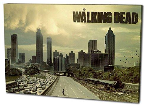 Farb-kunst-druck (The Walking Dead Format: 80x60 Leinwandbild, TOP-Qualität! Wand-Bild erhältlich von klein bis groß (XXL) made in Germany! Preiswerter fertig gerahmter Kunst-Druck zum Aufhängen - tolles und einzigartiges Motiv. Kein Poster oder Plakat!)