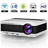EUG 1080P HD Wifi LED Projector, Home Cinema Wireless Portable Video Projector, Android 4.4.4, Bluetooth 4.0, HDMI, USB, VGA, AV, TV, Audio Out, Multimedia WXGA Projectors for Smartphone DVD iPad
