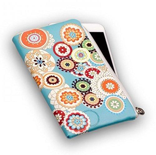 Gütersloher Shopkeeper Housse souple pour téléphone portable, turquoise, avec fermeture éclair, motif fleurs, pour Samsung Galaxy A6