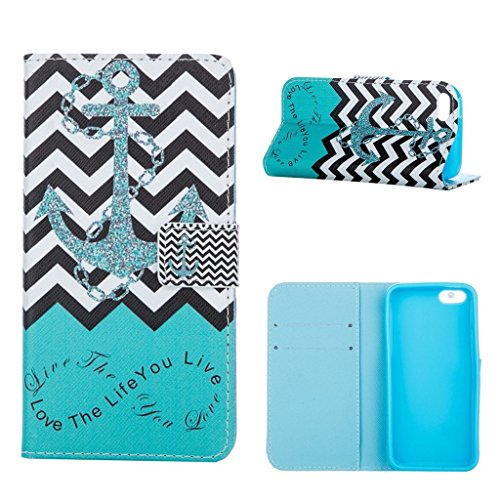 hyait® Case for Apple iPhone 5C Flip Leather Wallet With Card Holder and Kickstand Case Cover RX10 RX02