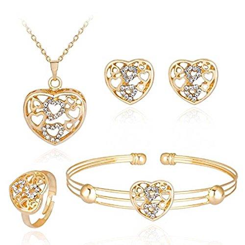 Liquidazione offerte, fittingran liquidazione offerte 4 pezzi gioielli set donne personalità strass collana bracciale anello orecchini gioielli regalo romantico (j)