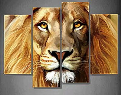 Nuolan Art - Honest Canvas Print - Large Size Lion Face Modern Wall Art for Home Decoration - Boy's Room Decor - UK-P4S004