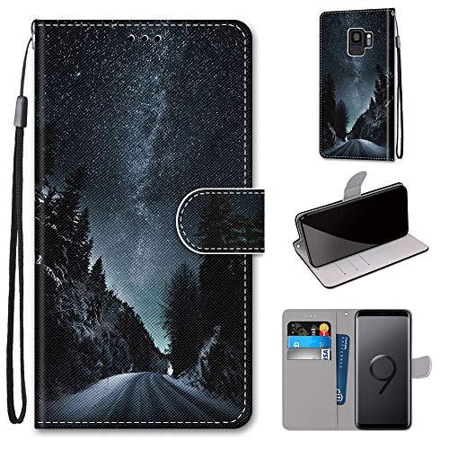 Miagon Flip PU Leder Schutzhülle für Samsung Galaxy S9,Bunt Muster Hülle Brieftasche Case Cover Ständer mit Kartenfächer Trageschlaufe,Nacht Straße
