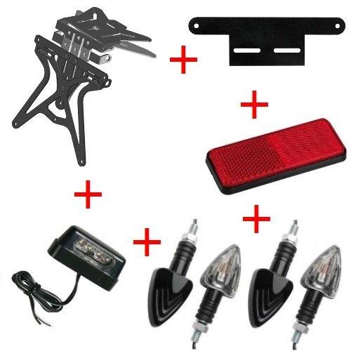 Kit für Motorrad Kennzeichenhalter UNIVERSAL + 4+ Blinker Kennzeichenbeleuchtung + Reflektor + Halterung Lampa Kawasaki ZZR 12002002–2005