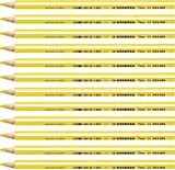 Stabilo 203/205 Triangular Coloured Pencil Crayon Trio Thick, 4.2 mm, Yellow, Pack of 12
