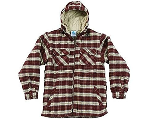 Mens Heavyweight Warm Hooded Check Sherpa Fleece Lined Fur Shirt Penarth Jacket Hoodie Full Zip Superior Premium Weight Hardwearing Toggle Adjuster To Hood Blue Castle Designed By Tuff Stuff Suitable For Work Leisure Workwear Outerwear Walking Countrywear Red