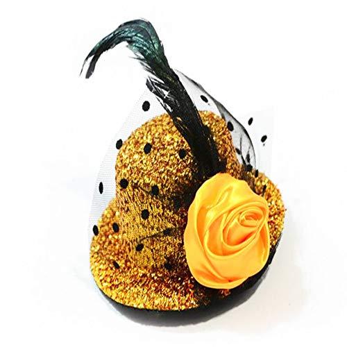 Zylinder Cocktail Hut für Frauen, Cocktail Party Hut mit Punkt Schleier Bowknot Haarspange Charming Große Blume Stirnband Mesh Haarband Party Mädchen Frauen (2 stücke),Gold