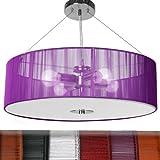 Stoff Deckenleuchte Pendelleuchte Stoffschirm Modern Retro Hängeleuchte Deckenlampe Lila A++ bis E Ø 50cm 4x E27 max 40W