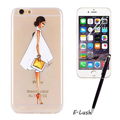 iPhone 6 Hülle, iPhone 6s Hülle, E-Lush High Heel Muster TPU Hülle für Apple iPhone 6 6s(4.7 zoll) [Kratzfeste, Scratch-Resistant] Weiche Flexible Silikon Handyhülle Clear Transparent Tasche Ultra Dün High Heel