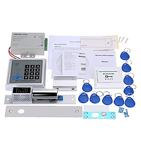 KKmoon Full Set RFID Door Access Control System Kit Door Security Entry Kit Password Host Controller + Magnetic Induction Electric Lock + Door Switch + Power Supply + Door Entry keypad 10 Key Fobs EXIT Button