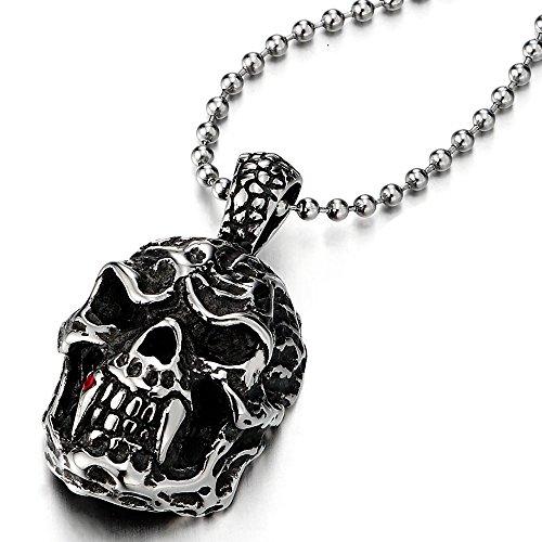 Zanne Vampiro Mostro Cranio Ciondolo, Collana con Pendente Teschio da Uomo, Acciaio,con Rosso Zirconi,Palla Catena 60CM