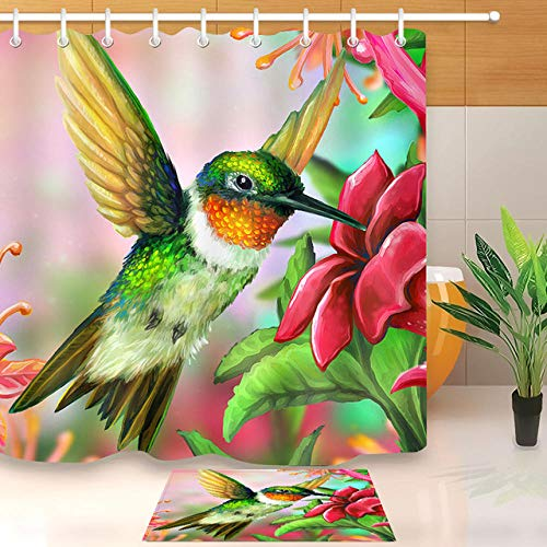 Jjjhj colibrì fioritura fiore doccia cortina di linea con stuoia set impermeabile personalizzato natura bagno tessuto per arredamento vasca da bagno di arte 180x180cm