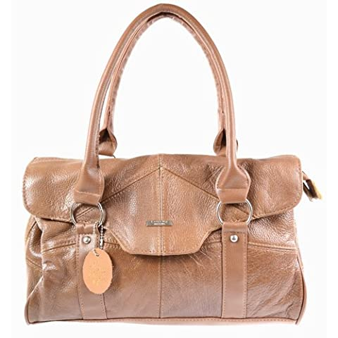 Ladies Leather Shoulder Bag / Handbag with Folder Over Flap and Magentic Clasp. ( Tan )