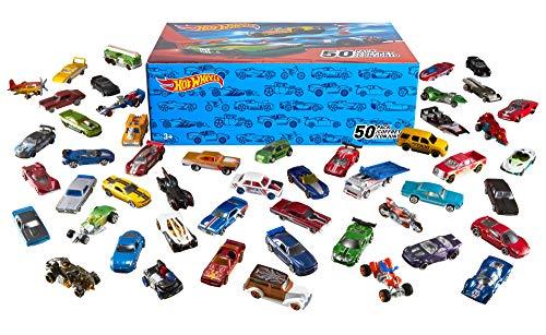 Hot Wheels V6697 50er Pack 1:64 Die-Cast Fahrzeuge extra großes Geschenkset, je 50 Spielzeugautos, zufällige Auswahl, ab 3 Jahren -