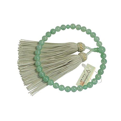 Kyoto-made Ojuzu Buddhist Prayer Beads, Aventurine Premium Stone with 100% Silk Tassel [ Made in Kyoto, Japan ] [ Hand-Made / Handcrafted Juzu Beads ] [ Zen Meditation ]