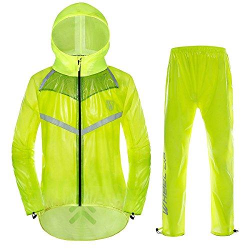 Latinaric Herren/Damen Radsport Wasserdicht Fahrradjacke Regenanzug besteht aus Regenjacke und Regenhose in Schwarz/Grün