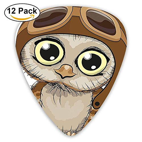 Owl In A Pilot Hat Big Eyes Caricature Characters Wildlife Guitar Picks 12/Pack -