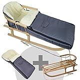 BambiniWelt24 BAMBINIWELT Kombi-Angebot Holz-Schlitten mit Rückenlehne & Zugseil + universaler Winterfußsack (108cm), auch geeignet für Babyschale, Kinderwagen, Buggy, aus Wolle Uni dunkelgrau