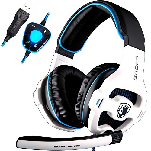 Sades SA903 Gaming Headset 7.1 Cuffie Gaming USB Surround Sound Stereo PRO Cuffie per pc Auricolari con Microfono Bass Deep Bass Controllo del Volume dell'orario LED per i Giocatori del PC (Bianco)
