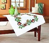 Kamaca Stickpackung Tischdecke Schmetterlinge Kreuzstich vorgezeichnet aus Baumwolle zum Selbersticken (Mitteldecke 80x80 cm)