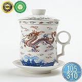 Keramik Teetasse (310 ml) mit Infuser und Deckel, TEANAGOO-Neptune (WD), Reise Teegeschirr mit Filter Chinesischer Drache, Teetasse Steiler Maker, Brühsieb für Loose Leaf Tee, Diffusor für Teeliebhaber Geschenk Teamug