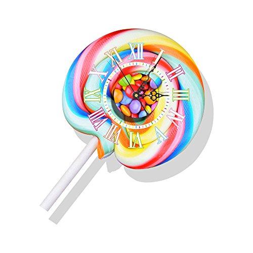 YTBKAHJ 3D-Uhr mit Wecker Zimmer Wallpaper Aufkleber Mute personalisierte Aufkleber dekorative Wand Sticker 3D-Aufkleber, Farbe Lutscher