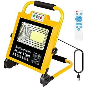 Luz de Trabajo 60W foco led 6000 lúmenes, proyector LED IP65, giratorio con soporte, reflector de recarga de brillo ajustable, trabajo de campamento, noche, jardín, exterior