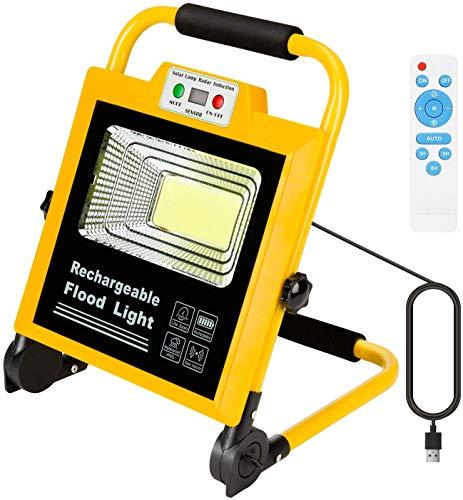 LEDMO Faretto portatile,Faro LED 60W Ricaricabile(6000LM),IP65 Proiettore LED, Rotante con Supporto,Faretto di Luminosità regolabile ricarica,Campeggio Lavoro,Notturna, Giardino, All\'aperto