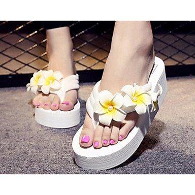 Fschooly Femmes Chaussures Tissu Printemps Été Confort Liane Sandales Pour Casual Rose Bleu Foncé Blanc Noir Blanc